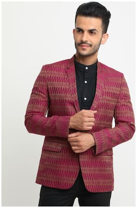SHOWOFF Men Cotton Full Sleeves Slim Fit Printed Pink and beige Blazers