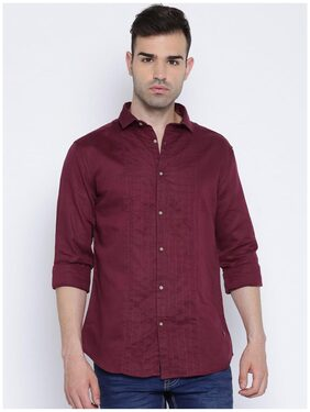 Showoff Men's Maroon Full Sleeves Linen Slim Fit Shirt