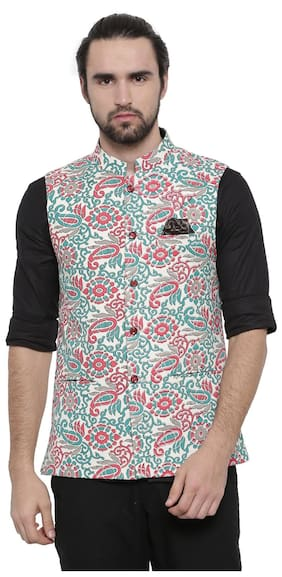 Showoff Men Slim Fit Linen Sleeveless Printed Ethnic Jackets - Beige