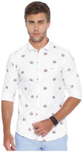 Showoff Men White Printed Slim Fit Casual Shirt
