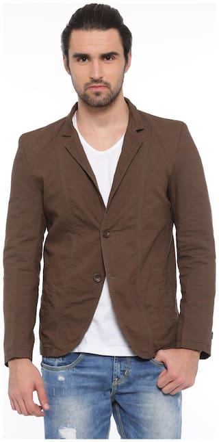 Showoff Solid Casual Men's Blazer (Brown)