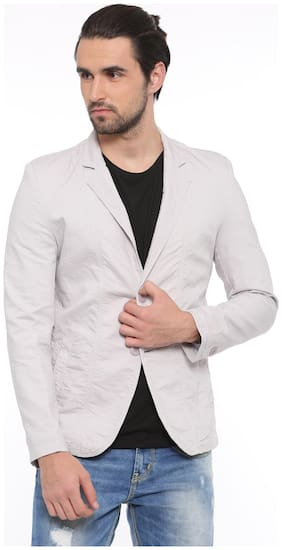 Showoff Solid Casual Men's Blazer (Light Grey)