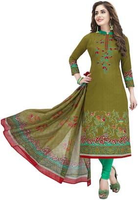 Shree Jeen Mata Collection Green Unstitched Kurta with bottom & dupatta With dupatta Dress Material