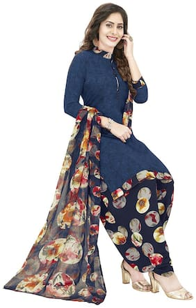 Shree Jeen Mata Collection Blue Unstitched Kurta with bottom & dupatta With dupatta Dress Material