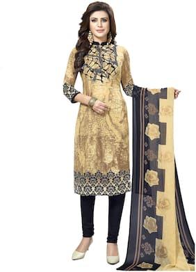 Shree Jeen Mata Collection Beige Unstitched Kurta with bottom & dupatta With dupatta Dress Material