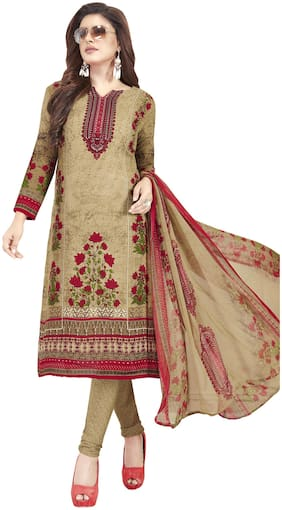 Shree Jeen Mata Collection Beige Unstitched Kurta with bottom & dupatta With dupatta Dress Material