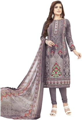 Shree Jeen Mata Collection Grey Unstitched Kurta with bottom & dupatta With dupatta Dress Material