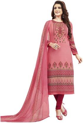 Shree Jeen Mata Collection Pink Unstitched Kurta with bottom & dupatta With dupatta Dress Material