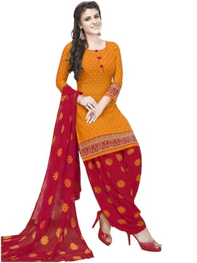 shree jeenmata collection Red and Yellow Crepe Dress Material