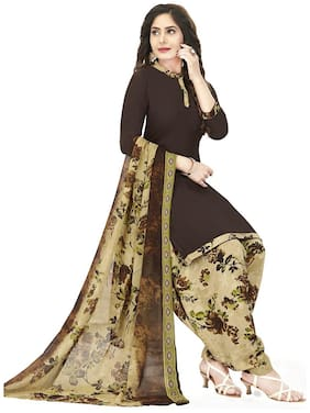 Shree Jeen Mata Collection Brown Unstitched Kurta with bottom & dupatta With dupatta Dress Material