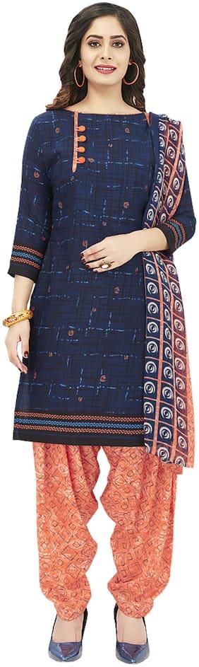 Shree Jeen Mata Collection Blue Unstitched Kurta with bottom & dupatta With dupatta Dress Material