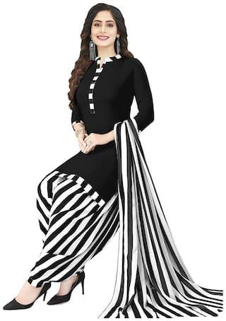 Shree Jeen Mata Collection Black Unstitched Kurta with bottom & dupatta With dupatta Dress Material