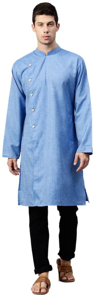 Shree Men Medium Blended Solid Kurta - Blue