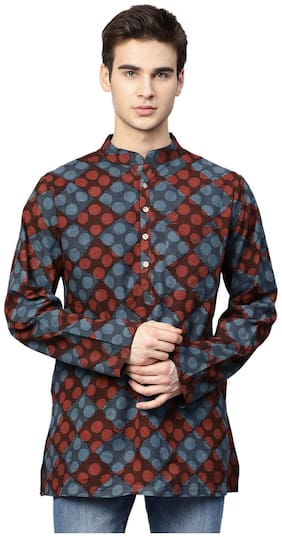 Men Geometric Regular Fit Kurta