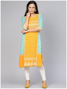 Shree Women Rayon Printed A line Kurta - Yellow