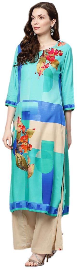 Shree Rayon Abstract Women Kurta - Blue