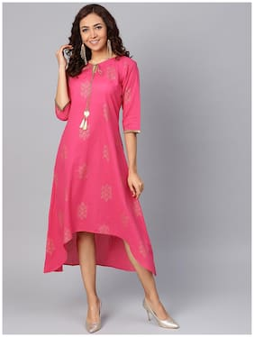 Women Printed A Line Kurti Dress
