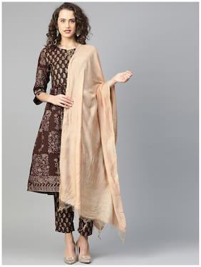 Shree Women Cotton A-Line Suit Set -Brown