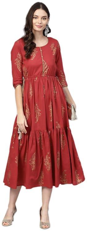 Women Floral A Line Fusion Dresses