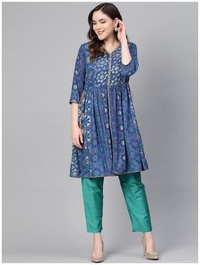 Shree Women Rayon Printed Kurta With Pants Blue