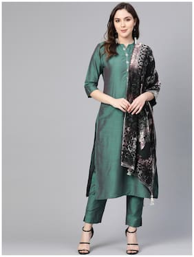 Shree Women Green Solid Straight Kurta With Palazzo And Dupatta