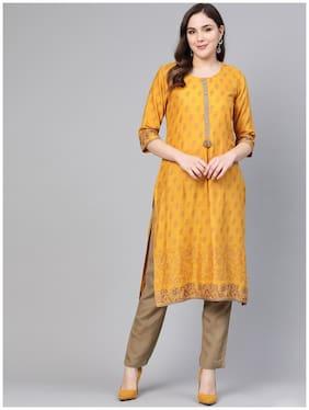 Shree Women Mustard Printed Straight Kurta With Pants