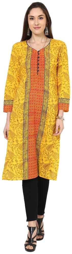 Shubhavas Women Cotton Printed Straight Kurta - Yellow