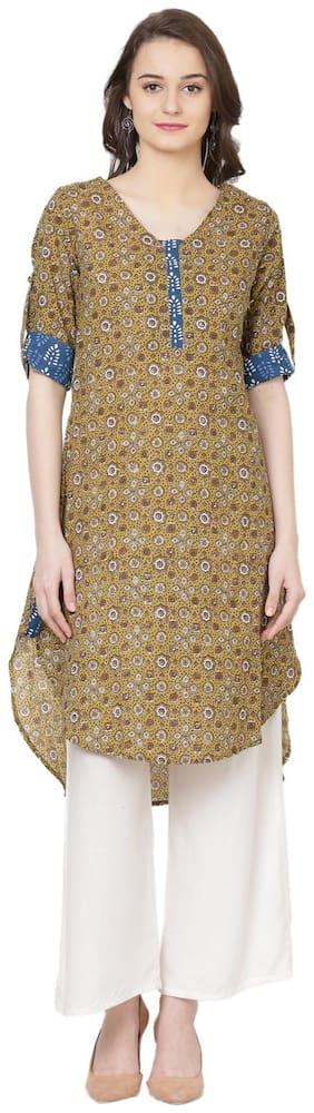 Shubhavas Women Cotton Printed Straight Kurti dress - Brown