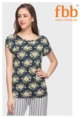 Shyla Women Floral Round neck T shirt - Blue