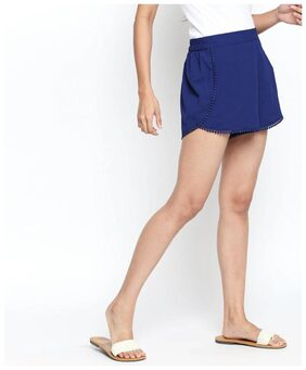 Shyla Women Polyester Solid Shorts - Blue