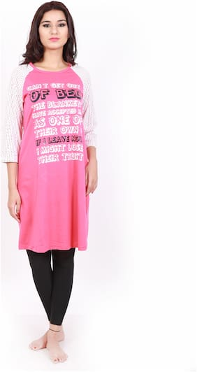 Shyla Cotton Night Gown Printed Nightwear Pink - (Pack of 1 )