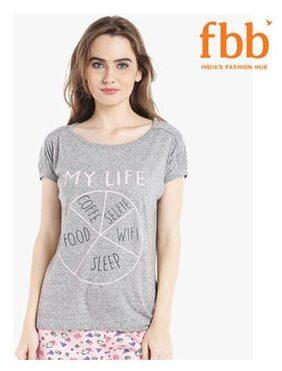 Shyla Printed Womens Grey T-shirt