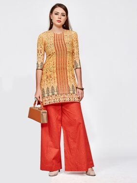 SILAAI Women Crepe Ethnic Motifs Straight Kurta - Orange