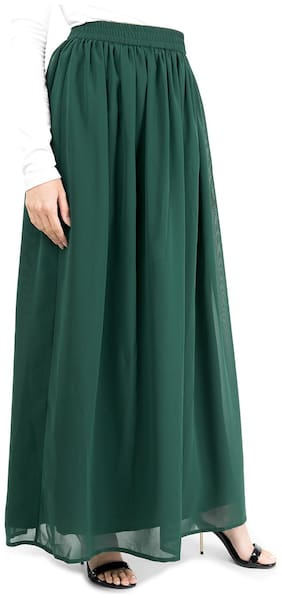 SILK ROUTE LONDON Solid Flared skirt Maxi Skirt - Green