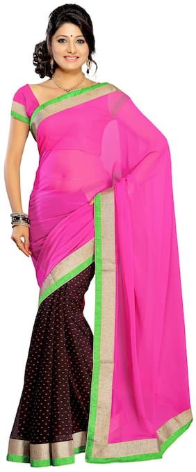 Silkbazar Pink Embroidered Universal Regular Saree With Blouse , Without blouse