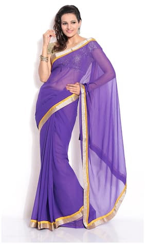 Silkbazar Purple Solid Universal Regular Saree Without Blouse , Without blouse