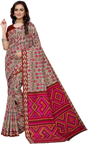 Silkvilla Pink Cotton Printed Saree With Blouse For Women