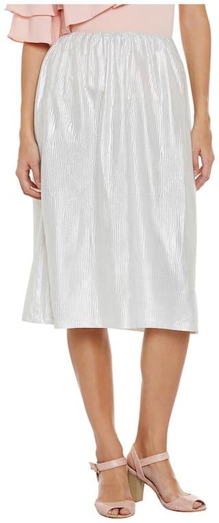 Silver Midi Foil Skirt