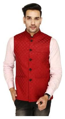 SINGHAL FASHION CHECK JACKET MAROON