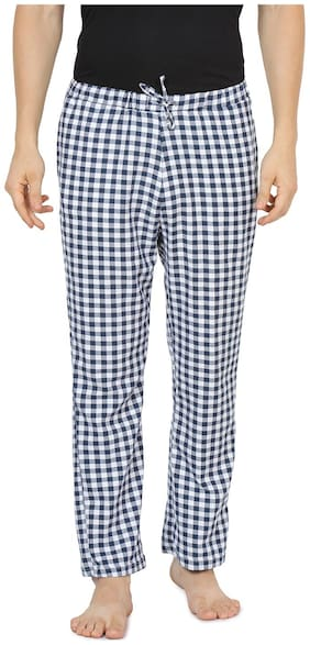 Semantic Men Cotton Checked Pyjama - Blue