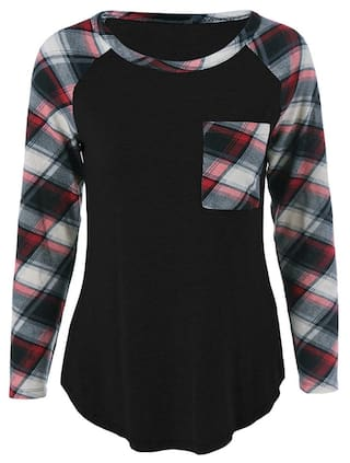 Pocket shirt Plaid Single Sleeve T UIwf1qd