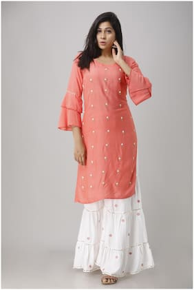 Singni Designer Hand Work Kurta With Sharara For Women And Girls