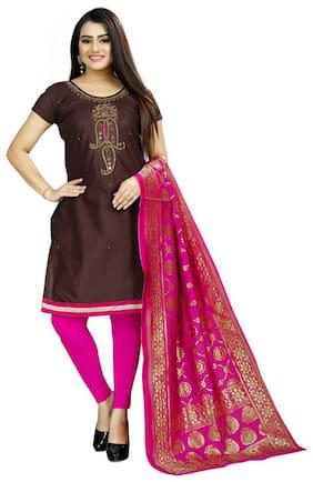Sitara Fashion Brown Unstitched Kurta with bottom & dupatta With dupatta Dress Material