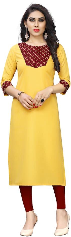 Sitaram Designer Women Yellow Checkered Straight Kurti