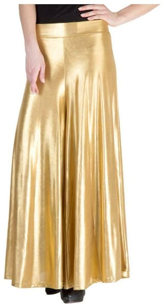 Sizzlacious Blended Solid Gold Palazzo  For Women