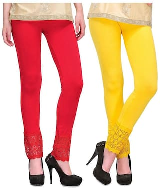 Sizzlacious Women Cotton Solid Leggings Red;Yellow