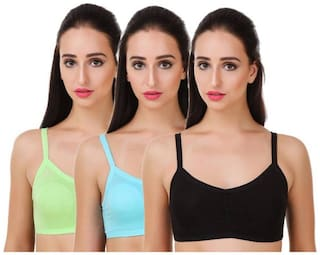 Sizzlacious Six Back Straps Multi Colour Padded Sports Bra (pack Of 3)