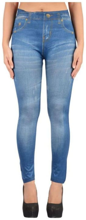 Sizzlacious Women Slim fit Mid rise Printed Jegging - Blue