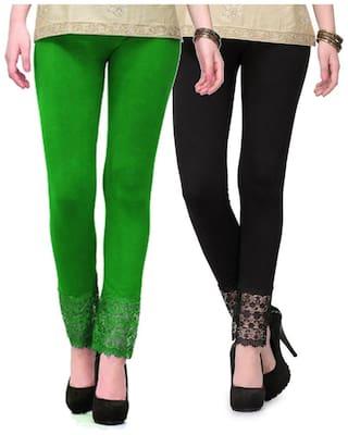 Sizzlacious Women Cotton Solid Leggings Green;Black