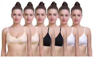 98956882ac4 Buy SK Dreams Multi Color Cotton Sinker Set of 6 Women s Bra Combo ...